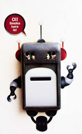 cute robot can on the wall for smoke space Stok Fotoğraf