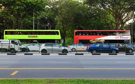 Singapore-04 JUN 2018: Singapore colorful public bus on road side