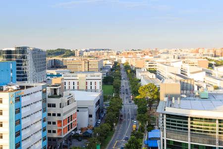 Singapur-04. Juni 2018: Luftbild der Industriezone Singapur Ubi Area