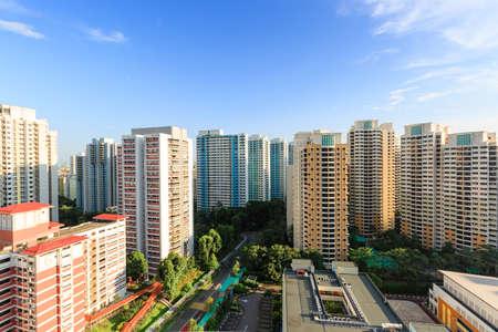 Vista aérea de la zona residencial de Singapur durante el día Foto de archivo