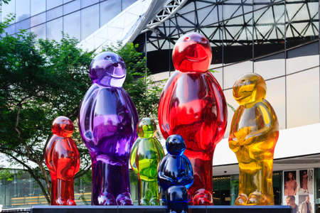 Singapore-04 MAY 2018:Colorful of Statues in front of Plaza singapura shopping mall