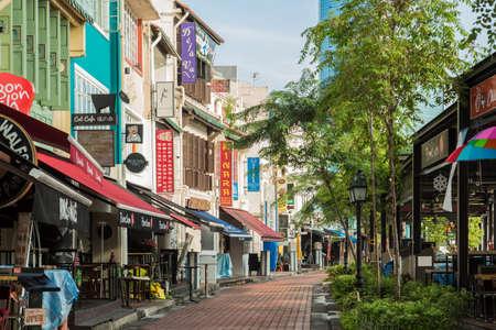Singapore-18 NOV 2017:Singapore Clarke Quay area vintage shop street view