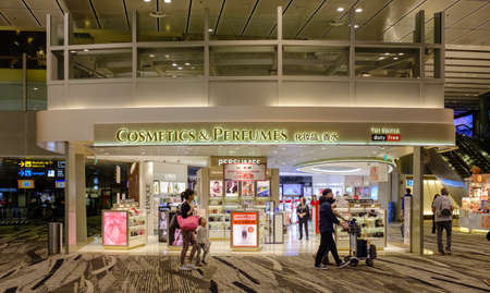 Singapore-03 APR 2018:Customers shop for cosmetics in Changi Airport Singapore. Singapore airport provides the best shopping experience to the passengers