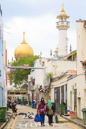 Singapore-10 MAR 2018: Masjid Sultan mosque view from old street in Singapore