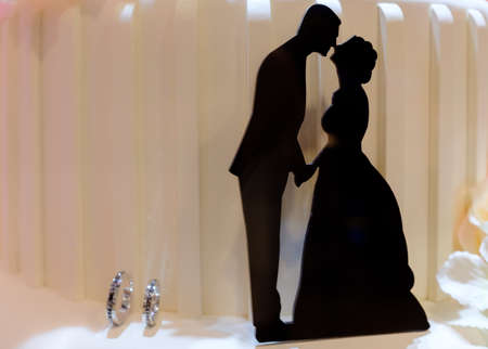 wedding theme black color couple Silhouette with ring