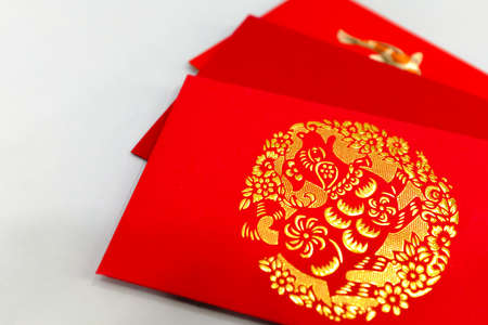 Chinese dog new year red package display 版權商用圖片