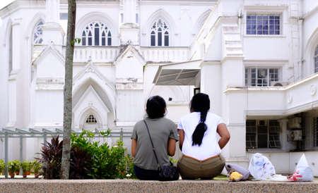 Singapore-18 MAR 2018: Singapore maids get together in public park on Sunday , enjoy holiday