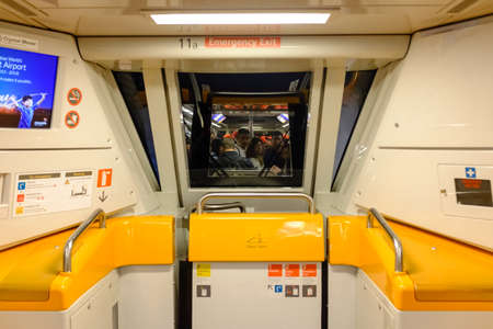 Singapore-03 APR 2018: Singapore Changi airport shutter Skytrain inside view