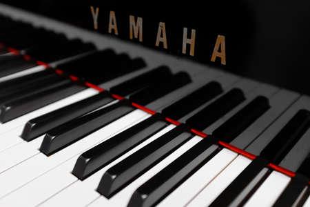 Singapore-03 MAR 2018: YAMAHA brand piano keyboard closeup view background