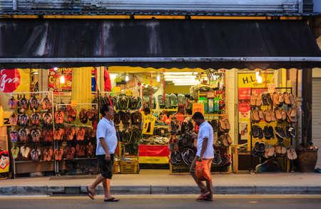 Singapore-25 FEB 2018: Singapore Geylang street traditional slipper store facade Stock Photo