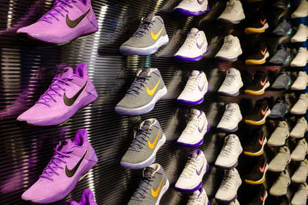 Singapore-21 JAN 2017: Nike shoes Kobe series display in shopping mall