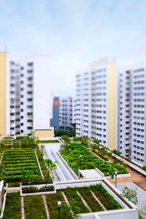 jardín en la azotea en la zona residencial vista aérea Foto de archivo
