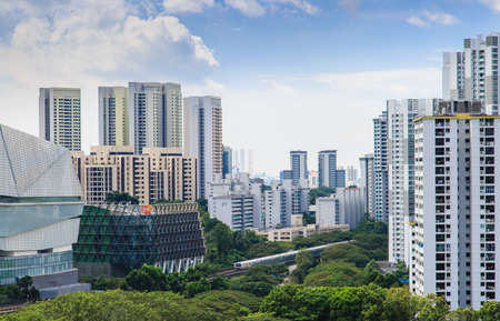 Singapore-22 DEC 2017:Singapore mrt train view pass residential area