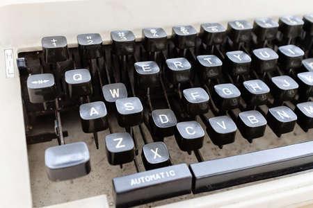 vintage style black color rusty keyboard closeup