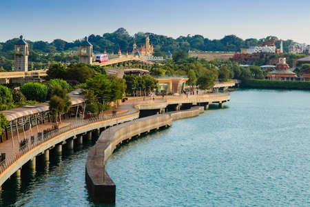 Singapore-22 DEC 2017: Singapore sentosa island link board walk view