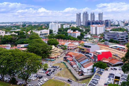 Singapore-22 DEC 2017: Singapore Holland village area Aerial day View