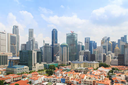 Singapore-14 DEC 2018: Singapore financial district as seen from Chinatown. Chinatown is an ethnic neighborhood featuring distinctly Chinese cultural elements and historically concentrated ethnic.
