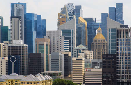 Singapore-14 DEC 2018: Singapore financial district as seen from Chinatown
