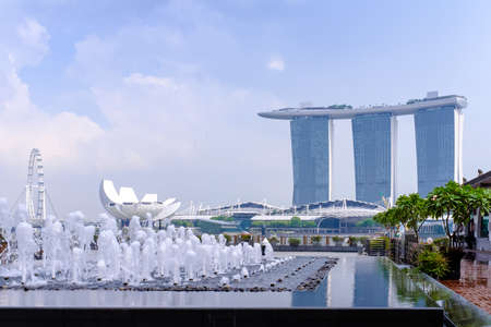 Singapore-14 DEC 2017: Singapore marina bay view from water feature landscape