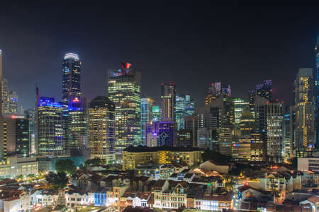Singapore -13 DEC 2017 :Singapore city core area night view from chinatown