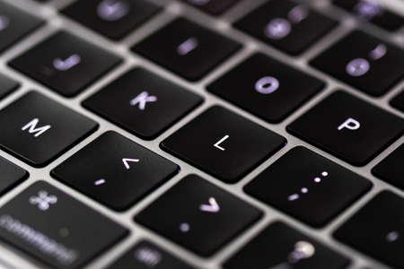 black color Computer keyboard macro closeup view Stock Photo