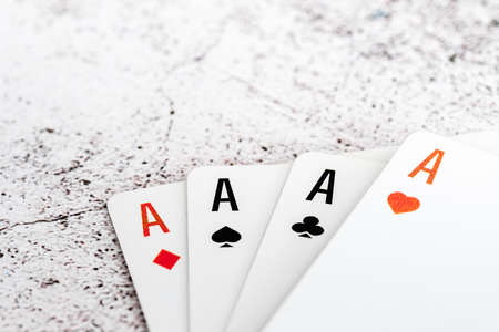 Four aces of different suits isolated on white background 写真素材 - 146480463