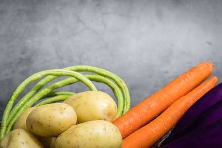 Assorted raw organic vegetables on grey background