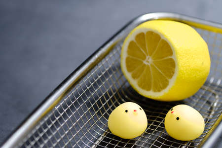 chicken toy with lemon in metal basket