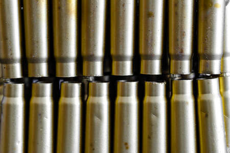 bullet shell cartridges on a black background Archivio Fotografico