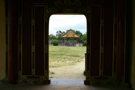 view from lobby to the temple