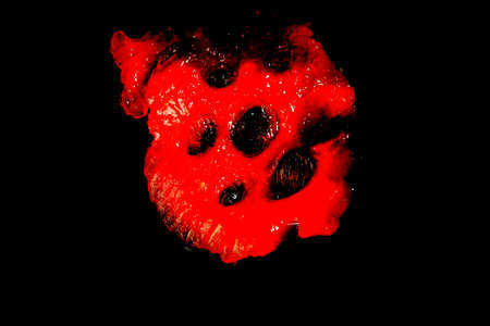 rinds: slice of watermelon on a black background macro