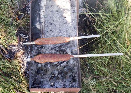 gas fireplace: shish kebab on nature Stock Photo