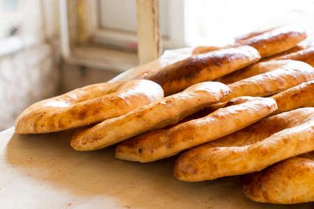 uzbek: Uzbek flatbread Stock Photo