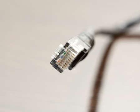 bandwidth: Phone cable isolated on white background macro Stock Photo