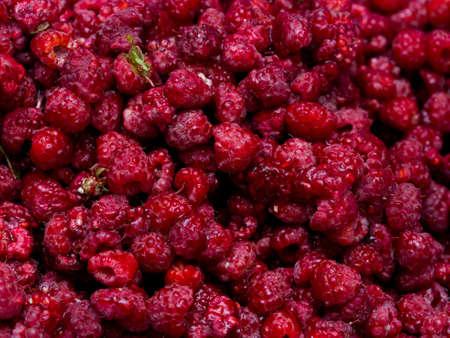 luscious: Fresh raspberries background closeup photo Stock Photo
