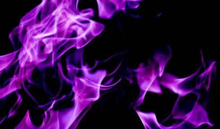 Purple fire flames on a black background Stock Photo