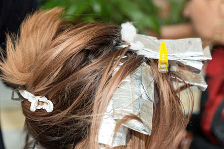 barber: hair coloring in a beauty salon