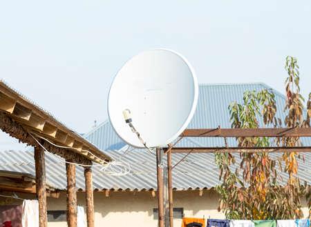satellite dish in the yard