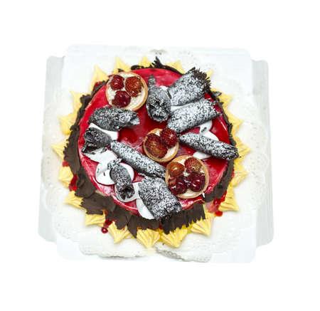 topper: festive cake on a white background