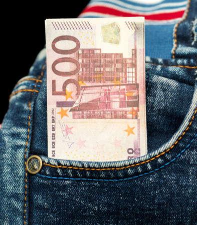five hundred euros in his pocket jeans