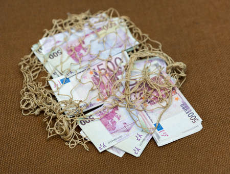 five hundred euros on a background mesh bag