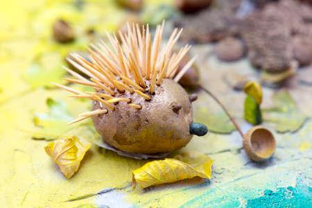 hedgehog, handmade from the autumn theme for the kindergarten