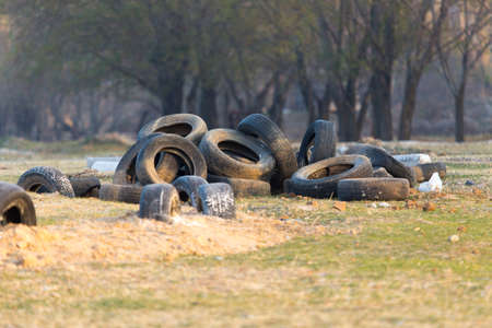 car old tires on the nature Stock Photo