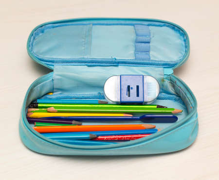 child's school pencil case on a white background