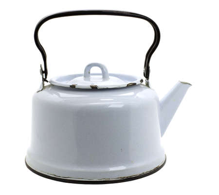 Galvanized white teapot, isolated on white background Stock Photo