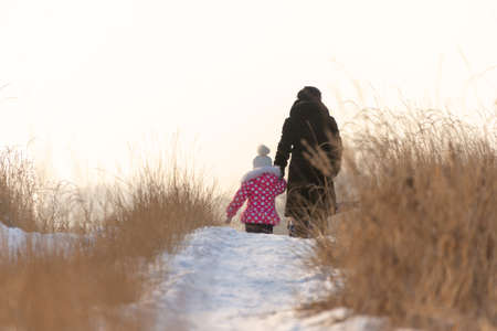 A woman and small children walk in the meadow in winter. They turned away and left.
