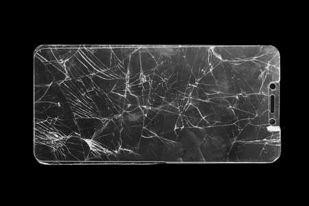 broken safety glass for smartphone on black background
