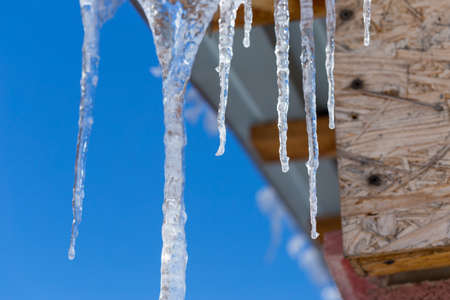 Icicles on vintage roof closeup. Winter weather concept. Froze and ice background. Christmas weather concept. Snow and icicle. Melting icicles. Long sharp icicles. Frozen water. Cold weather concept