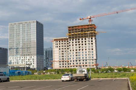 Astana, Kazakhstan - 11. 06. 2019: Walking through the city with a camera and photographs of various skyscrapers. The new capital of Kazakhstan is Astana.