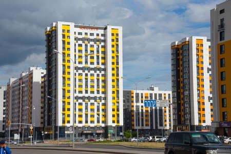 Nur-Sultan, Kazakhstan - June 16, 2019: Skyscrapers in the mini-town of Nova City